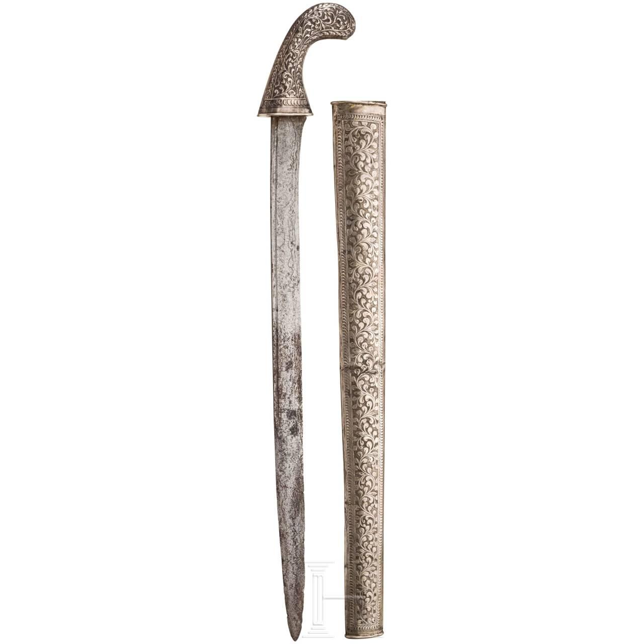 Neusilbermontiertes Pedang, Sumatra, um 1900