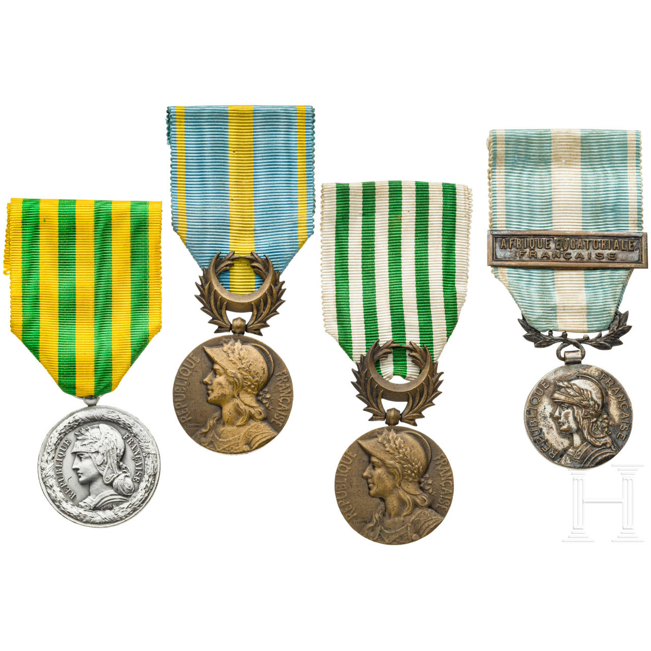 Four colonial medals, France, 19th / 20th century