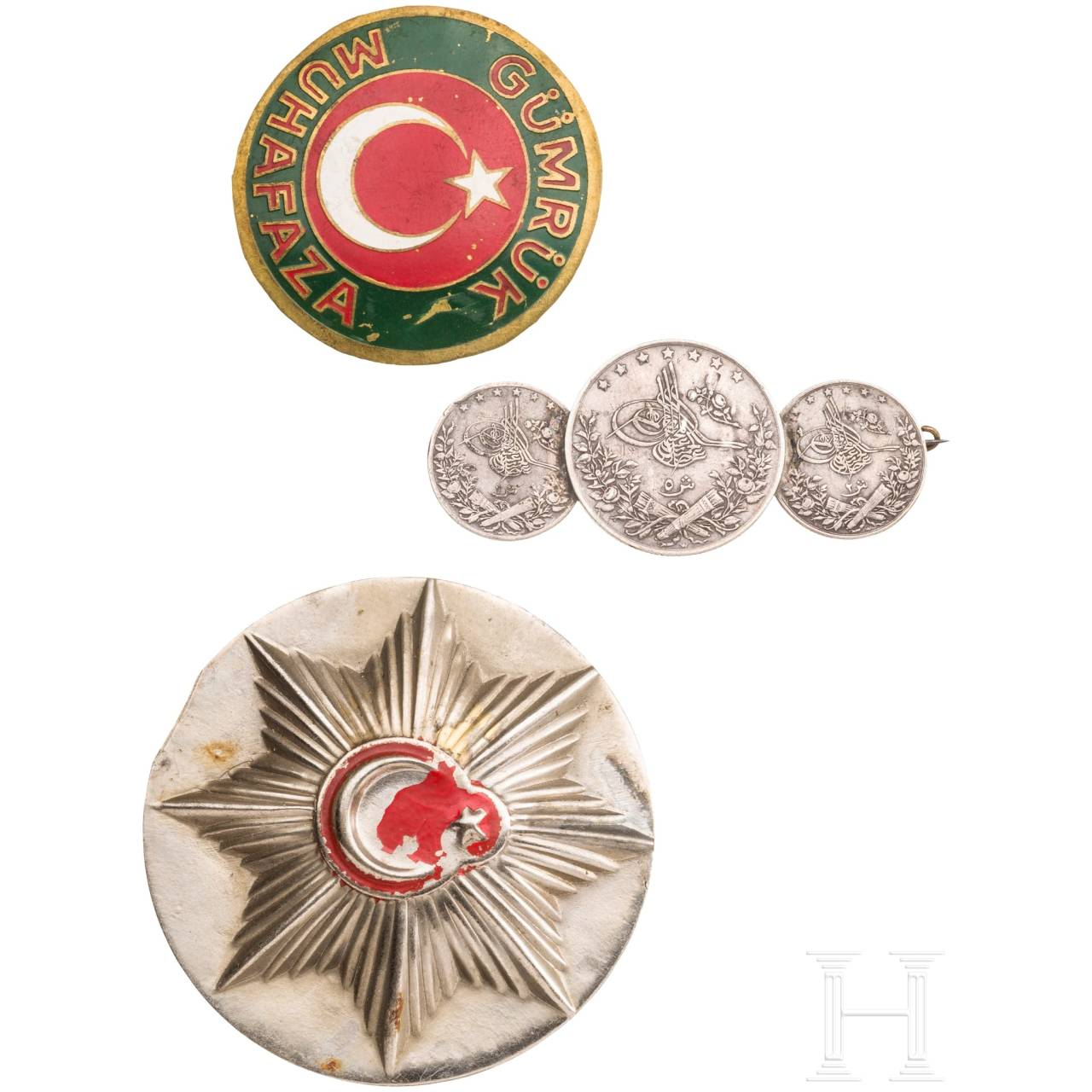 Three silver medals 1875, police and customs badges, Turkey