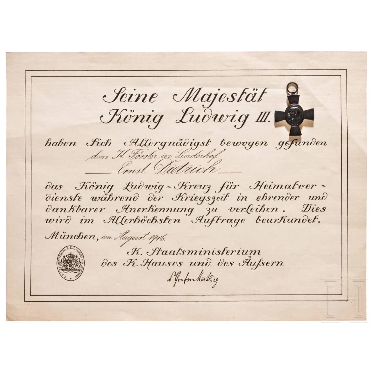 King Ludwig Cross 1916 with document