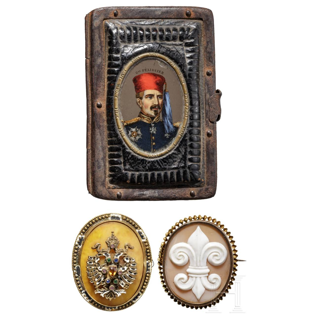 Wallet and two medallions, France / Austria, 19th century