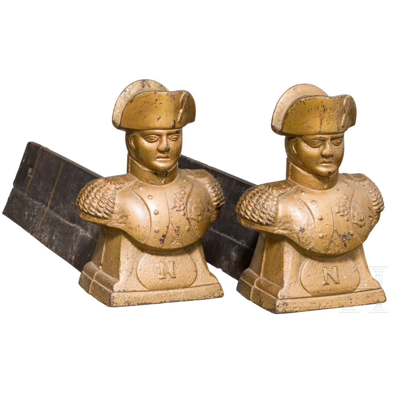 Two andirons with Napoleon motif, 19th century