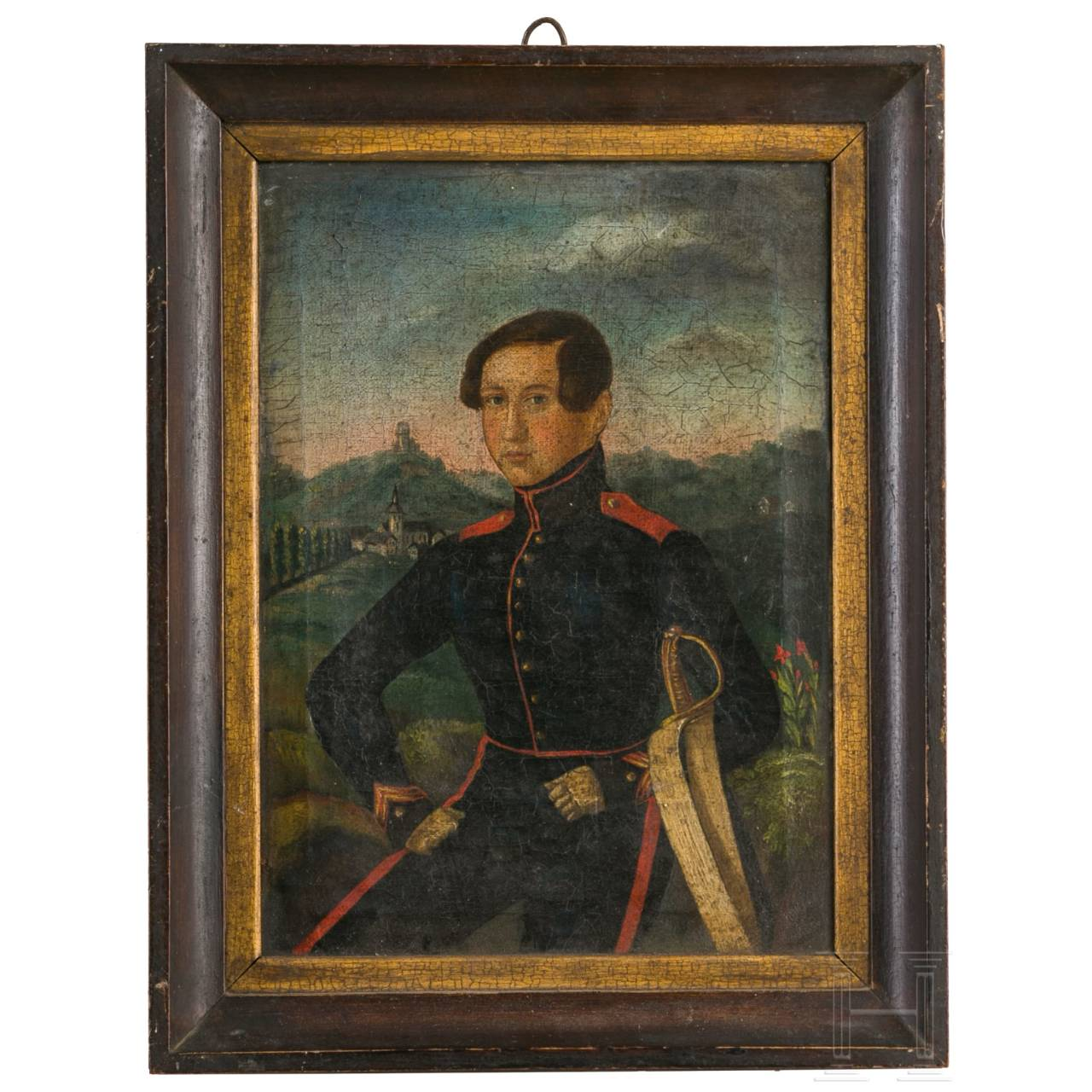 Portrait of a soldier in front of Staufen Castle, c. 1850