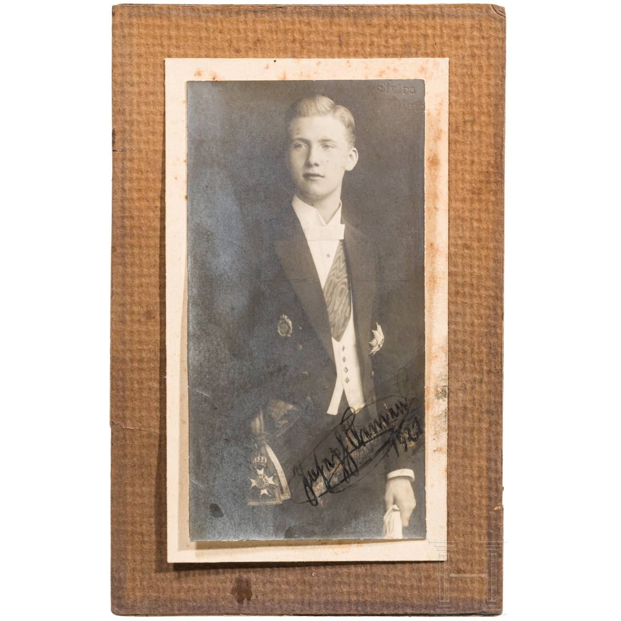 Prinz Joseph Clemens von Bayern (1902 - 1990) - signiertes Portraitfoto, datiert 1921