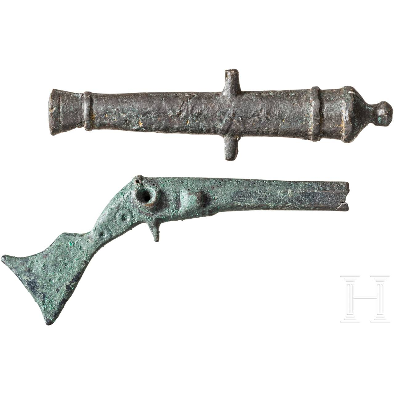 A toy carbine and a cannon barrel, 17th century