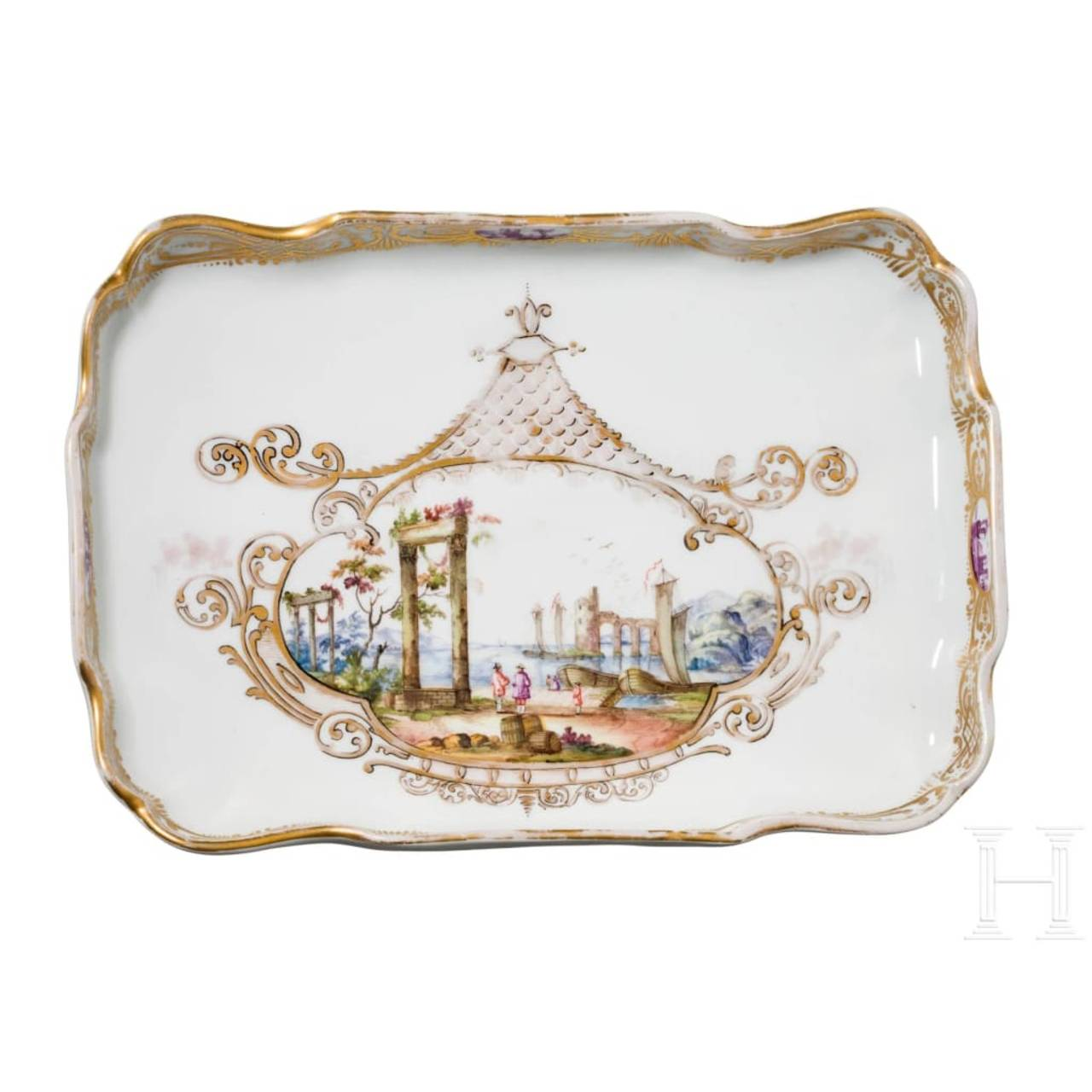 A delicately painted tray with motif and decor from the 18th century, Meissen, 18th/19th century