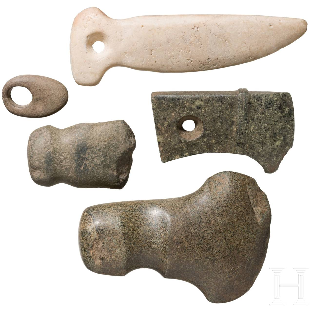 Five Central and South American stone tools, circa 3000 B.C. – 1000 A.D.