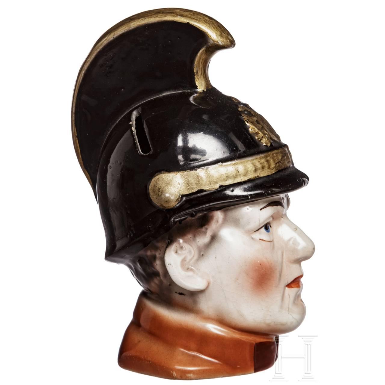 A porcelain head of a k. u. k. dragoon, early 20th century
