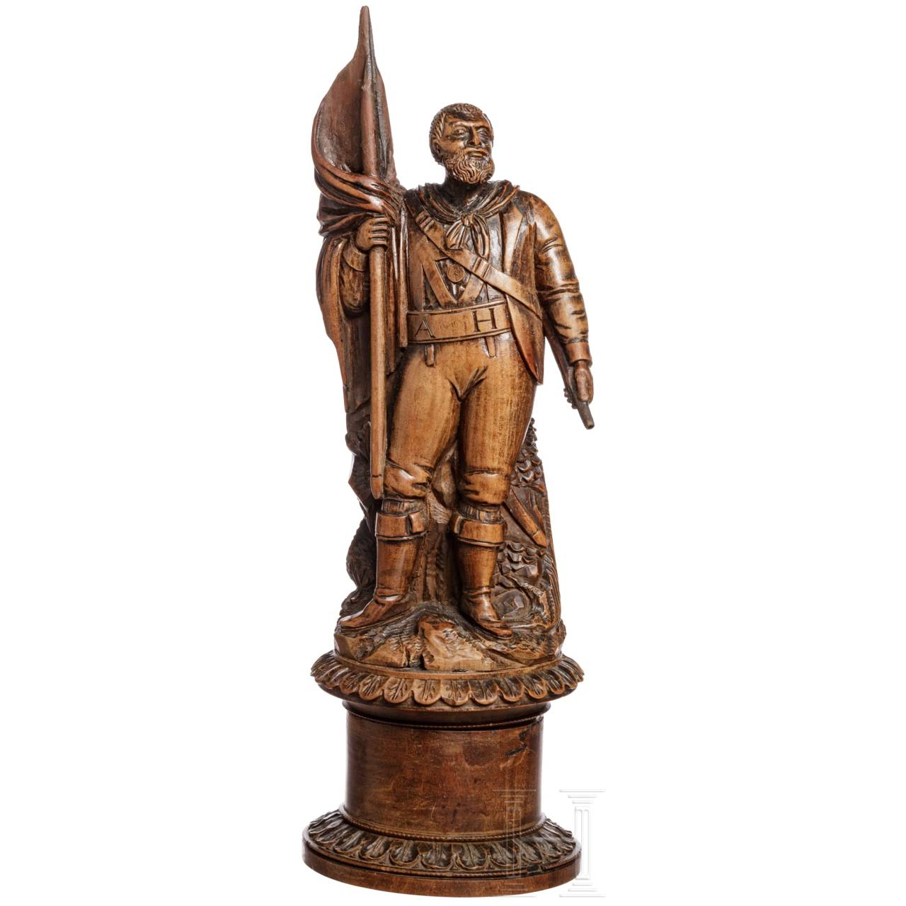 Wooden box with the figure of Andreas Hofer, early 19th century
