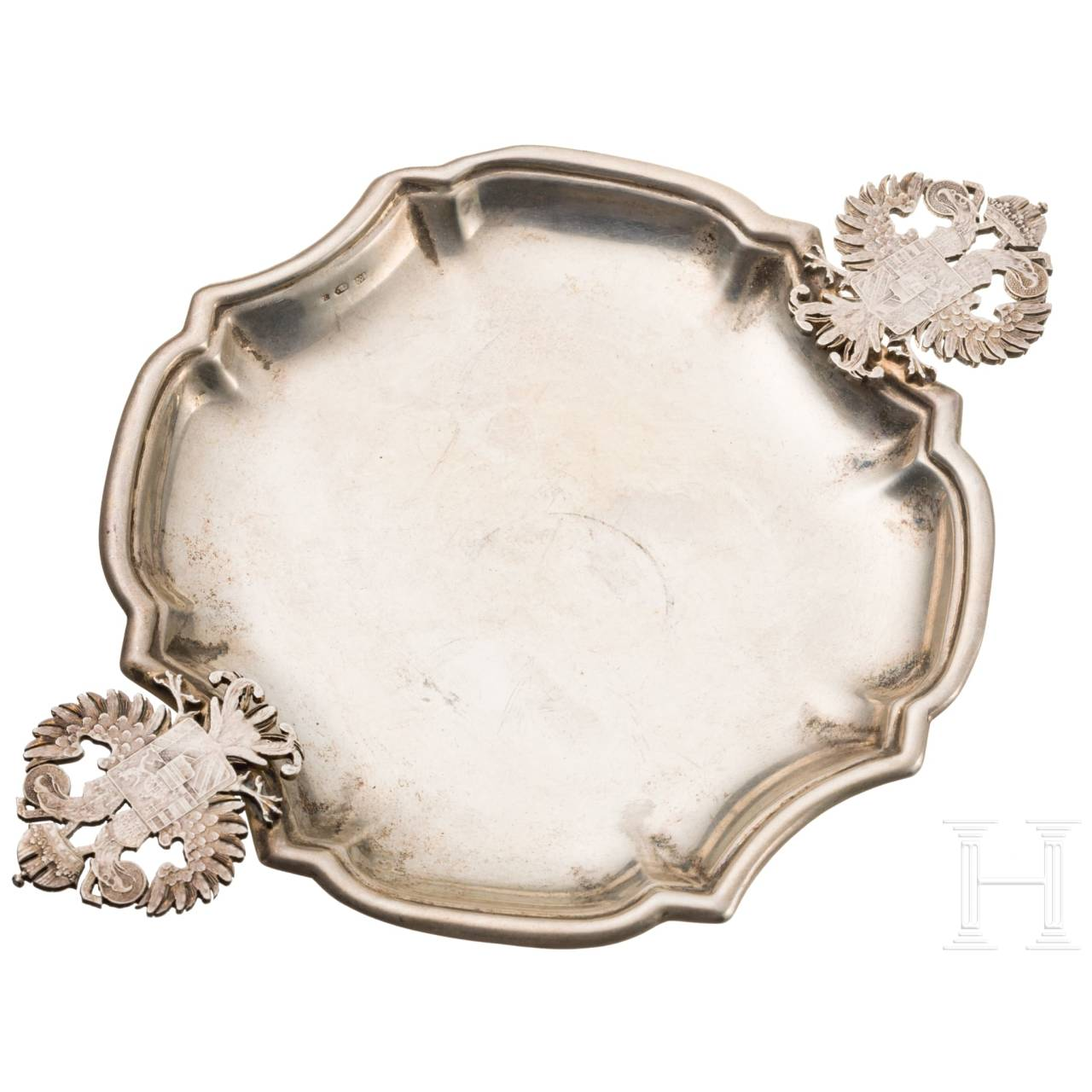 Small silver tray with double headed eagle handles and coat of arms representation for Austria-Hungary, 19th century