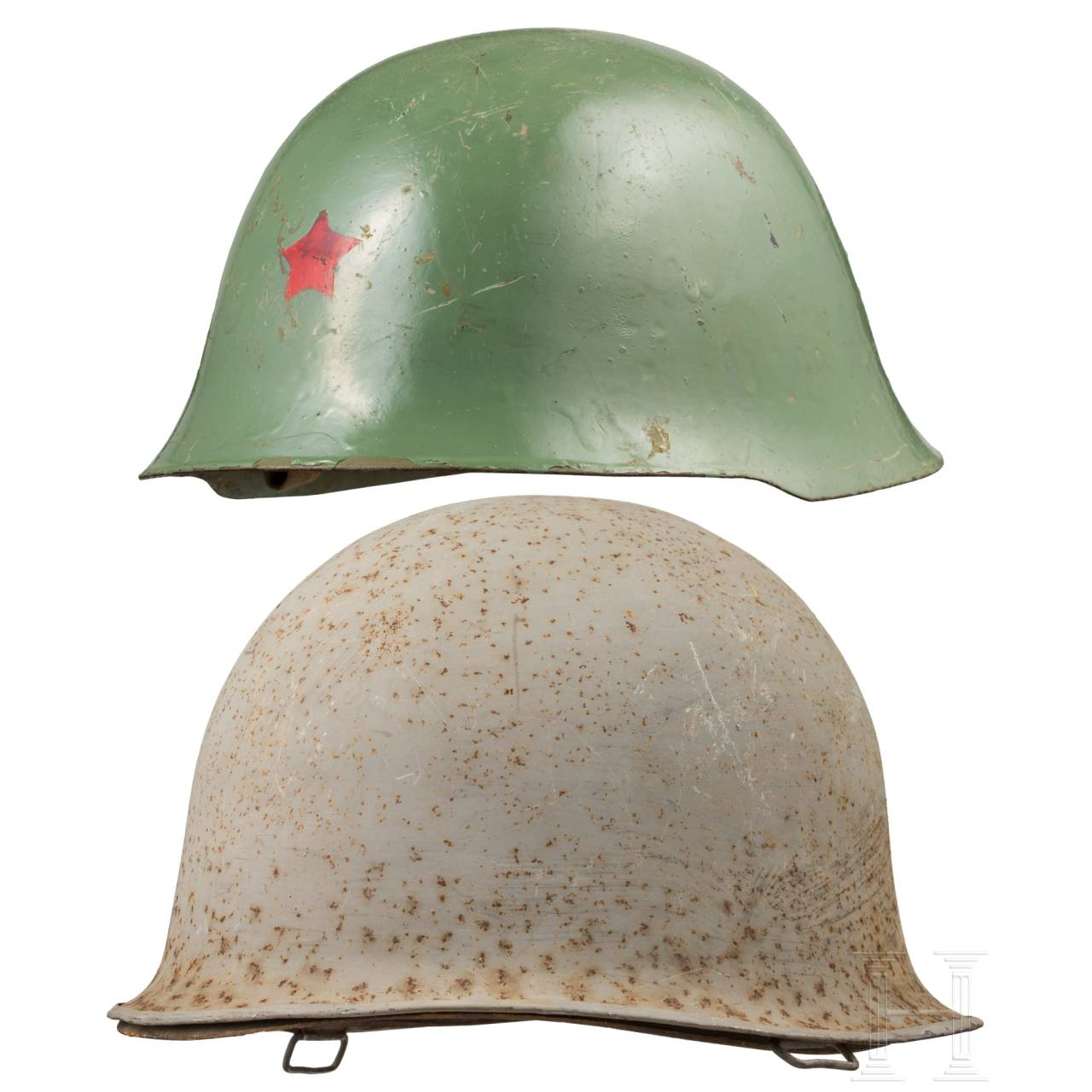 Two steel helmets, USA and China