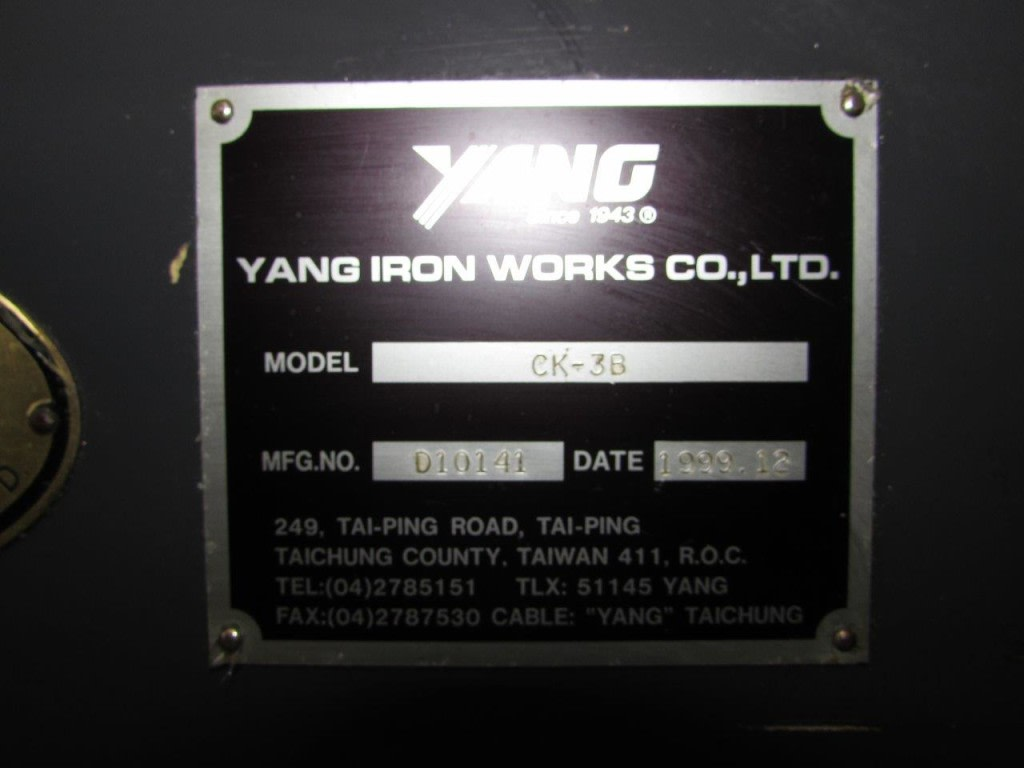 YANG CK3B CNC Lathe  Serial No  010141  Manufactured