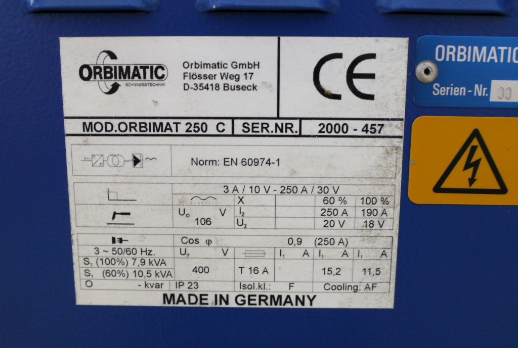 Orbimatic Welding Machine Model 250 C With Orbicool 3002 Cooler