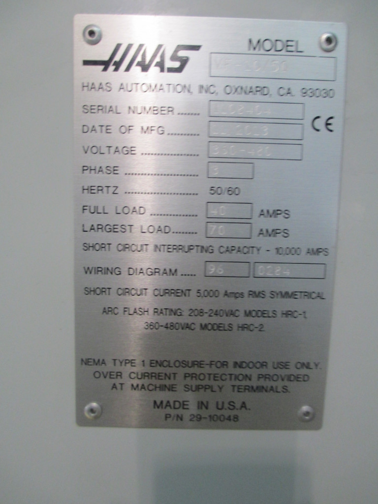 Haas Model Vf 10 50 Cnc Vertical Machining Center On Auction Now At Wiring Diagram Hilco Industrial