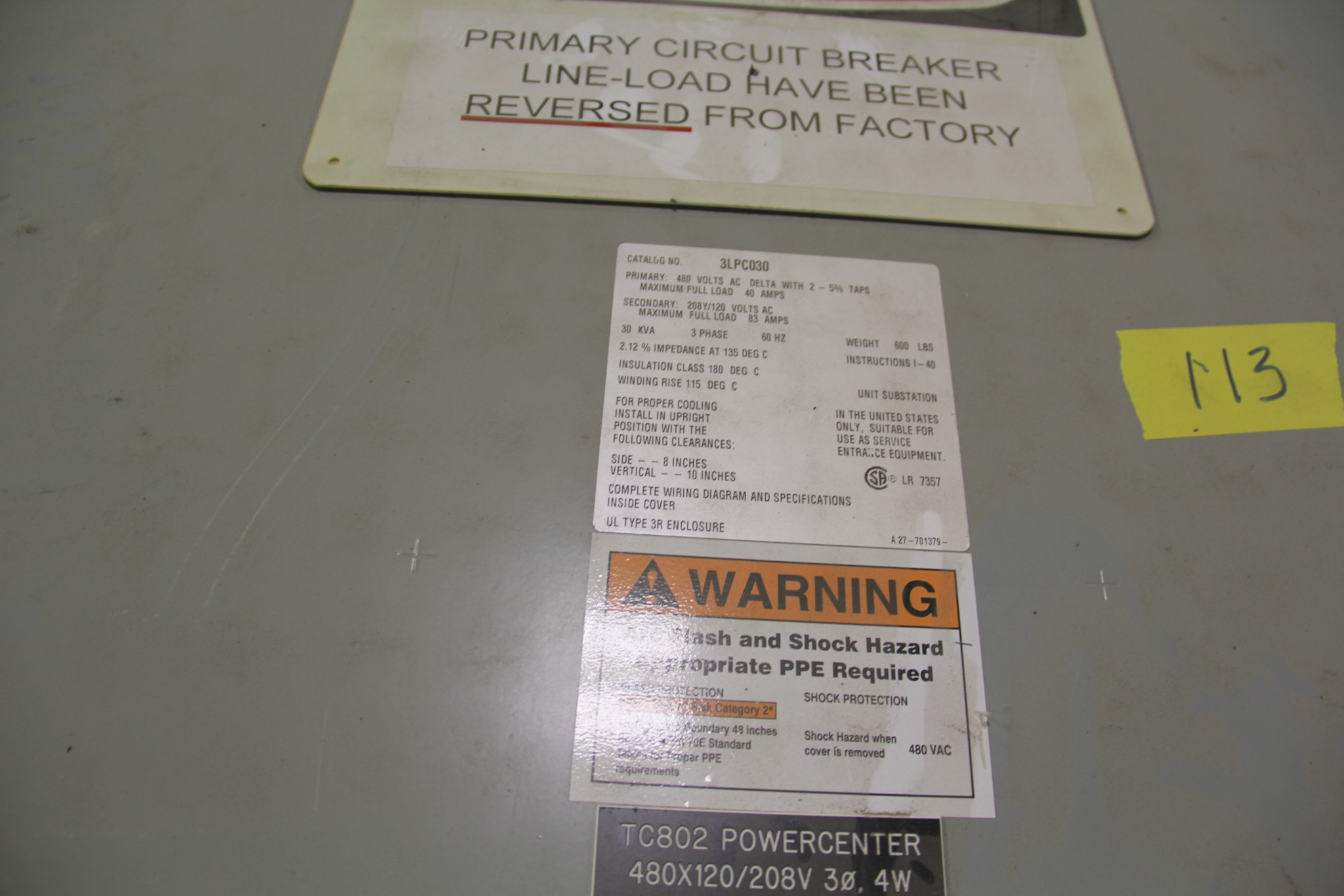 2 Substations 1 Circuit Breaker Panel On Auction Now At Apex Installation Position Image Auctions Us