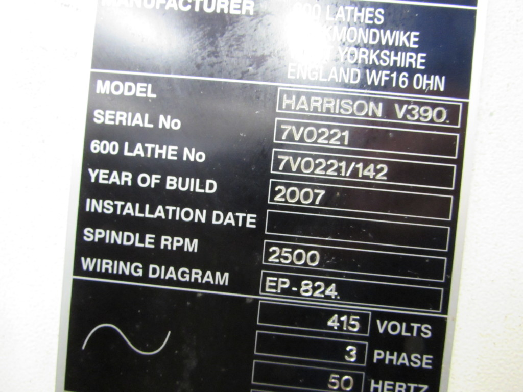 Harrison Gap Bed Centre Lathe Model V390 Year 2007 On Auction Now 415 Volt 3 Phase Wiring Diagram At Apex Auctions