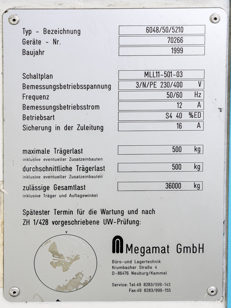 Megalift-Model 6048/50/5210 Automatic Storage Carousel - No Contents ...