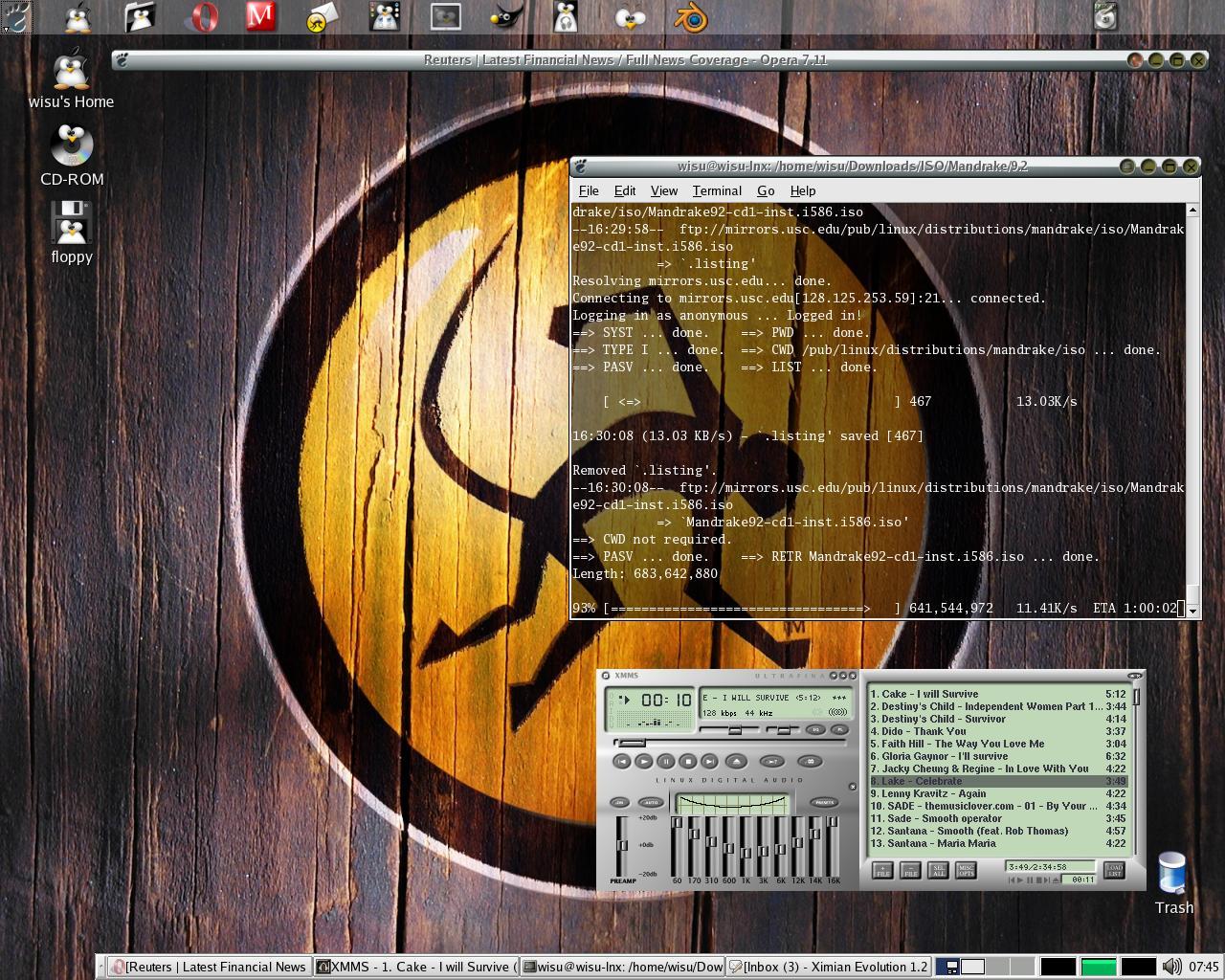 My workstation running a Gnome desktop on an Mdk 9.2 - 12 Dec 03