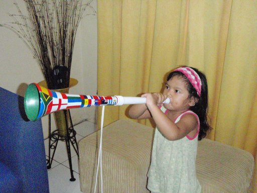Sekar Blowing the Vuvuzela