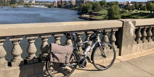 A photograph of my bicycle on a bridge over the Chattahoochee river.