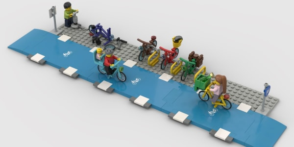 A photo of Lego bicycle lanes.