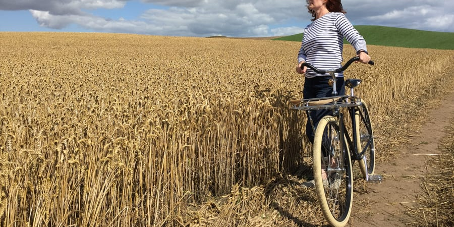 A photo of a woman on a bicycle overlooking a field.