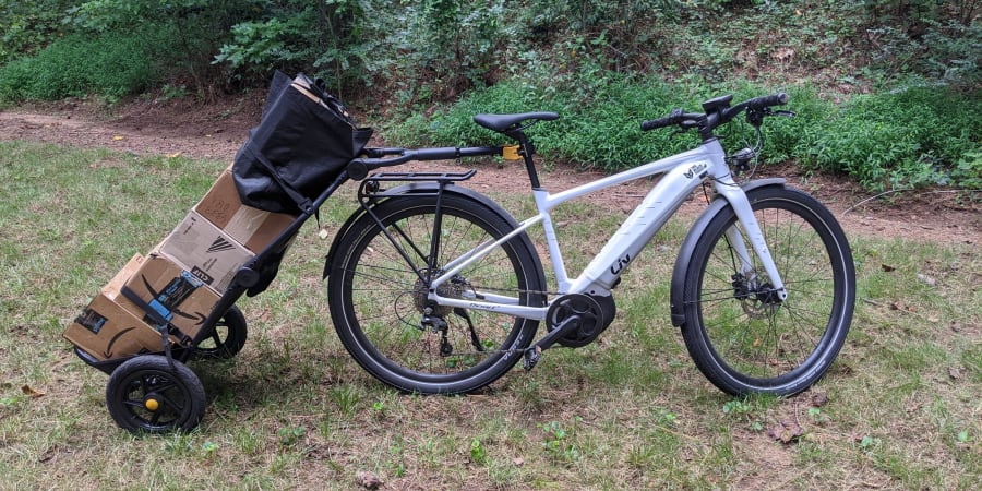 Photo of the Burley Travoy trailer on a bike.