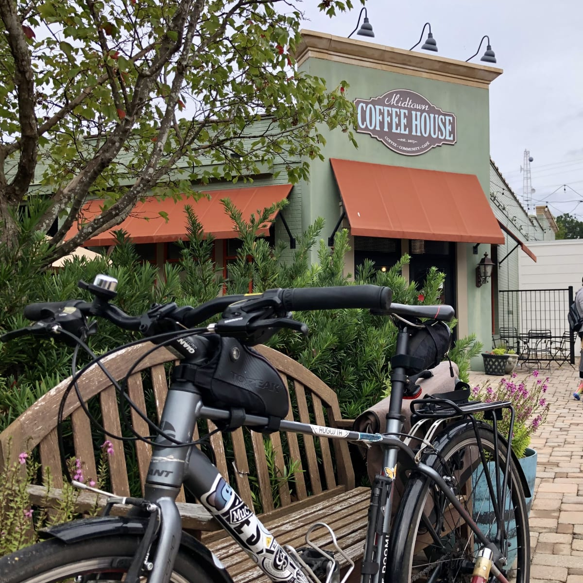 A photo of my bicycle in front of Midtown Coffee House.