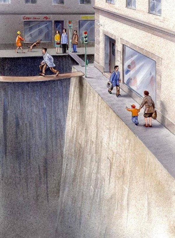A comic of people crossing and walking along a street that has been replaced with a bottomless pit.