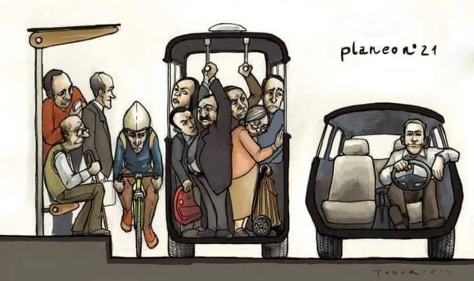 A comic depicting the bike riders and transit users crammed next to a car driver with comfortable space.