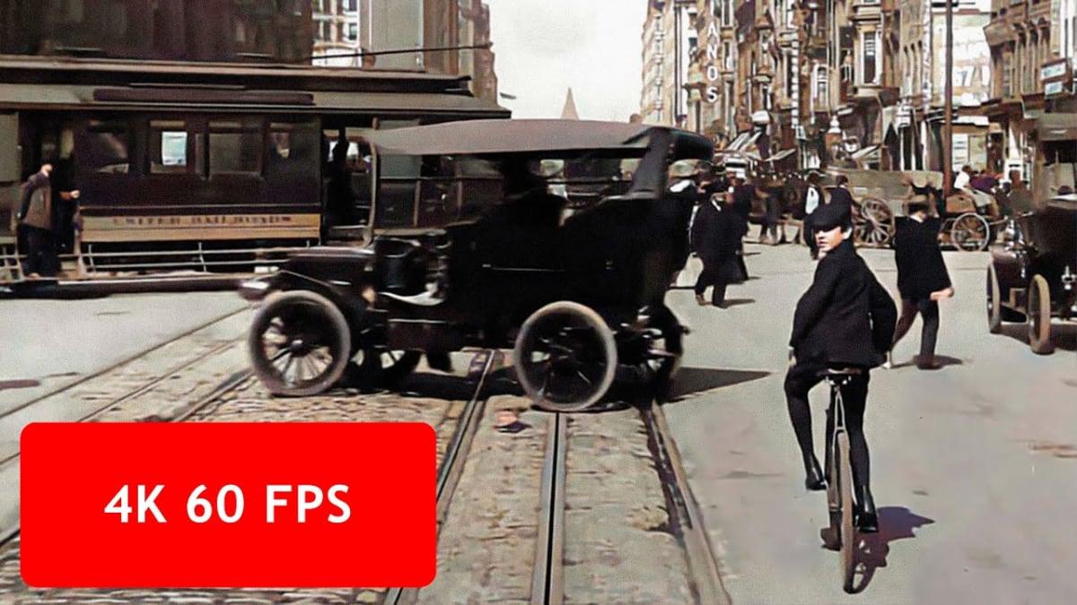 """Watch video: """"[4k, 60 fps] San Francisco, a Trip down Market Street, April 14, 1906"""""""