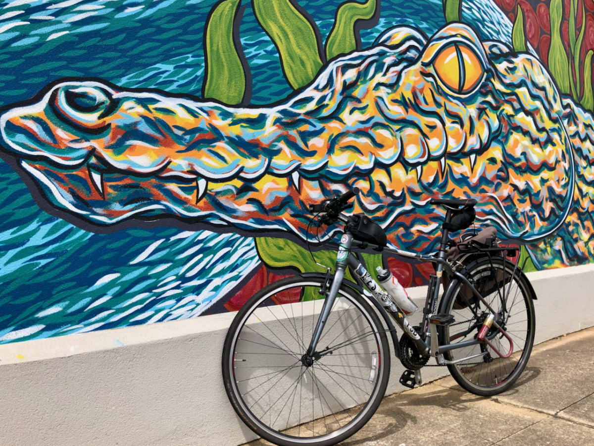 A photo of a bicycle in front of a mural with a crocodile painting.