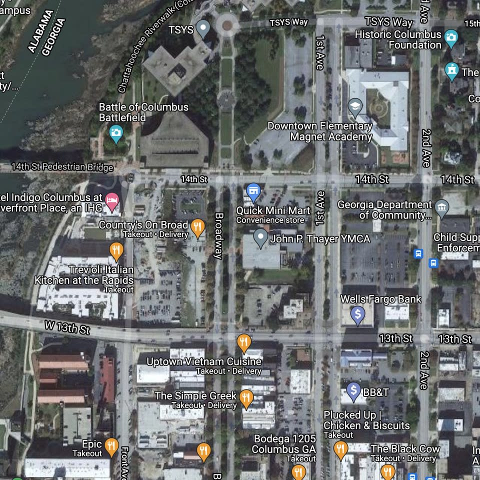A satellite map of the Columbus, GA downtown.