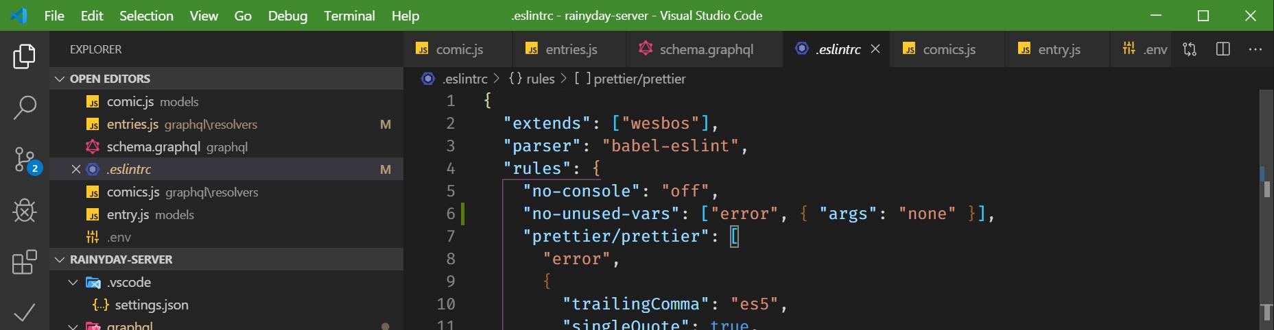Node.js project in VS Code