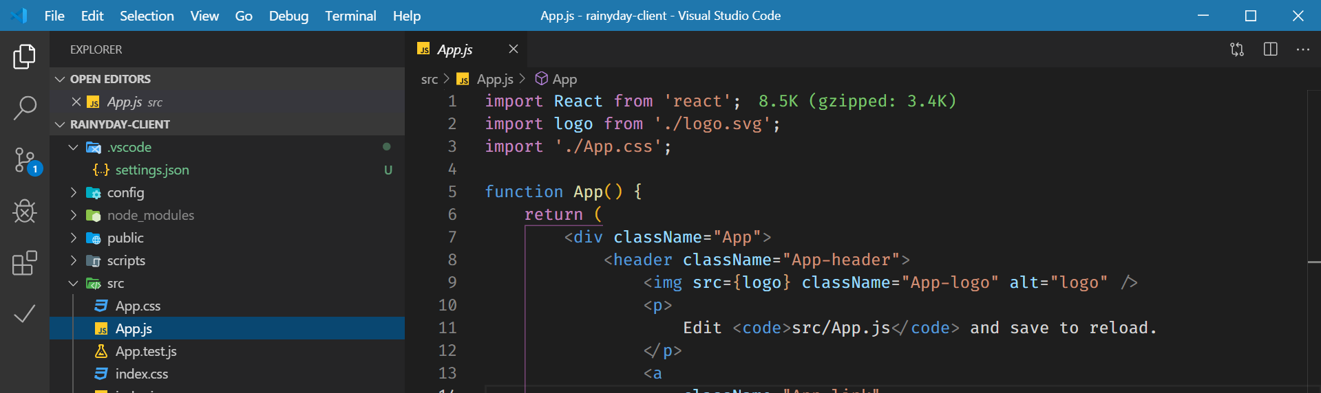 React project in VS Code