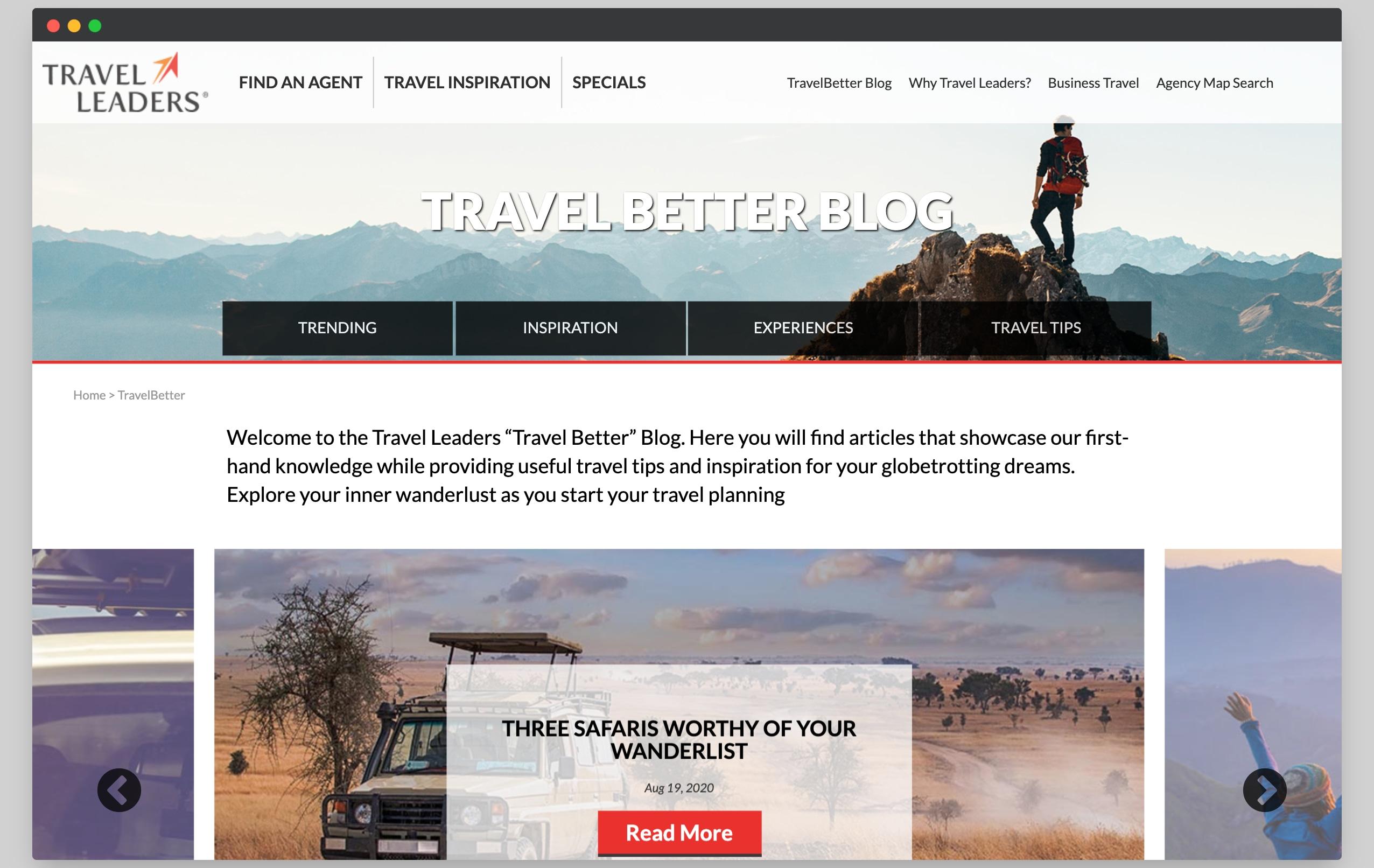 iTravel Better Blog Redesign