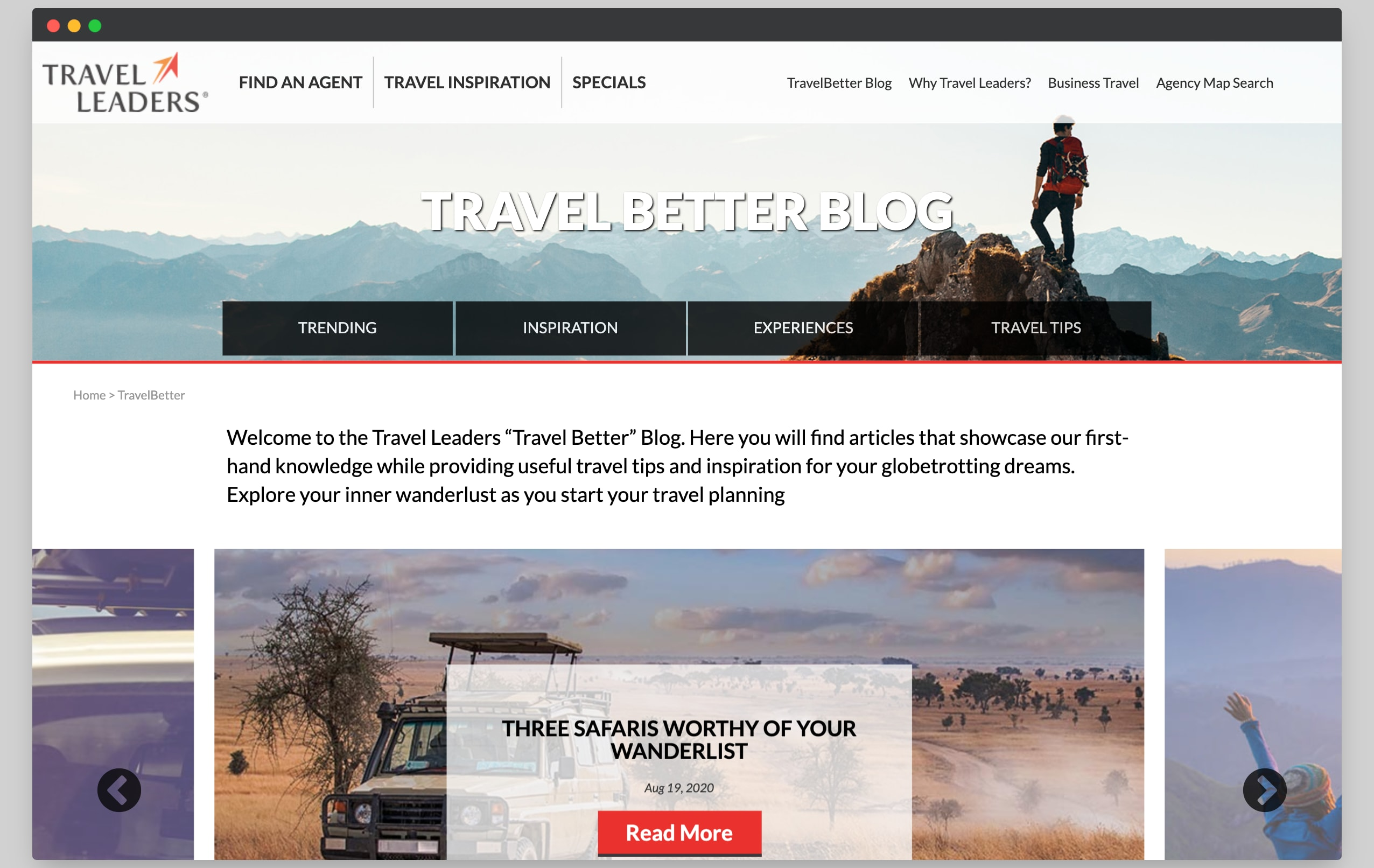 iTravel Better Blog Redesign