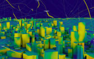 A visualisation of drone flight path management in a city (courtesy of Cityzenith).