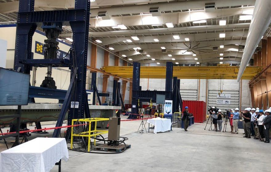 Image: University of Maine performs test on bridge girder made of composite materials (University of Maine)