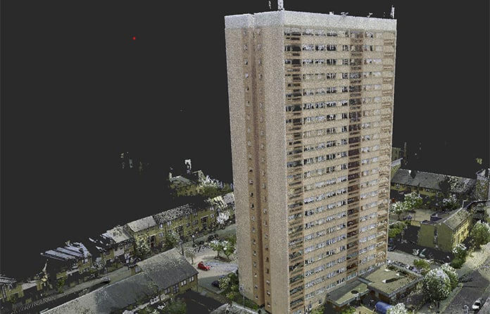 Point cloud survey of Clarion's 22-storey Clare House in Bow, east London