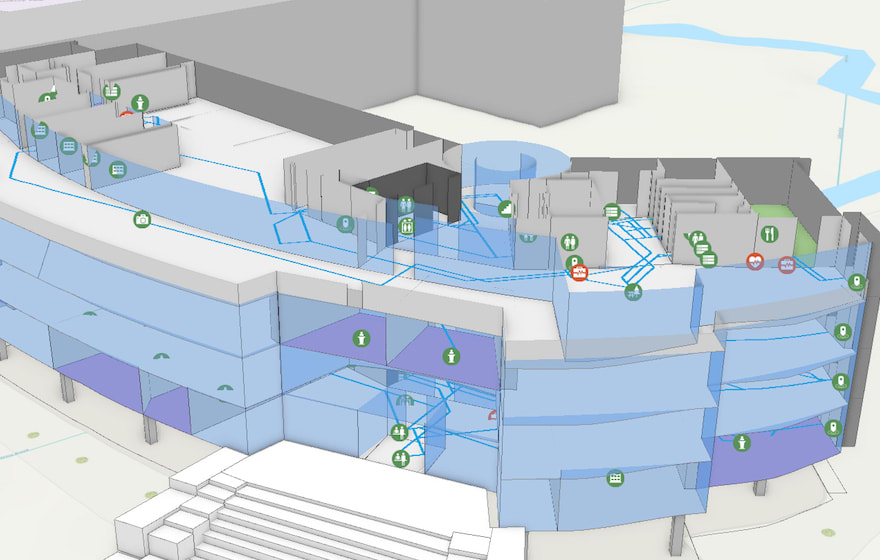 A screengrab of indoor mapping from Esri UK
