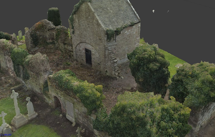 A 3D image of a ruined church captured by photogrammetry
