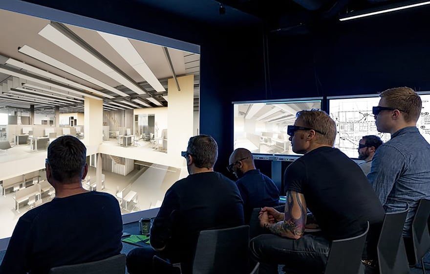 A BIM cave allowed contractors to interrogate models and comment on buildability