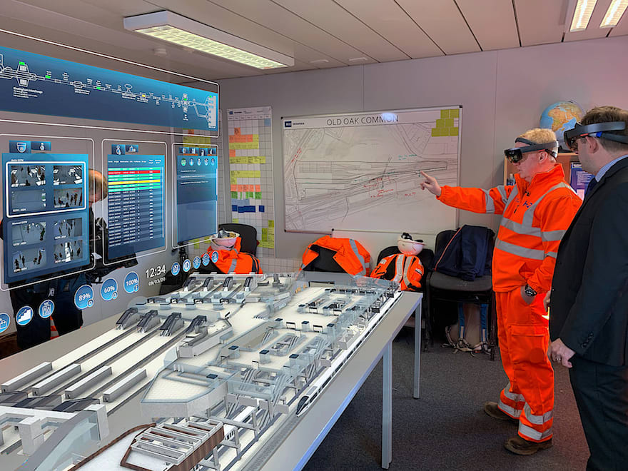 Photograph: augmented reality at Old Oak Common Station, March 2020