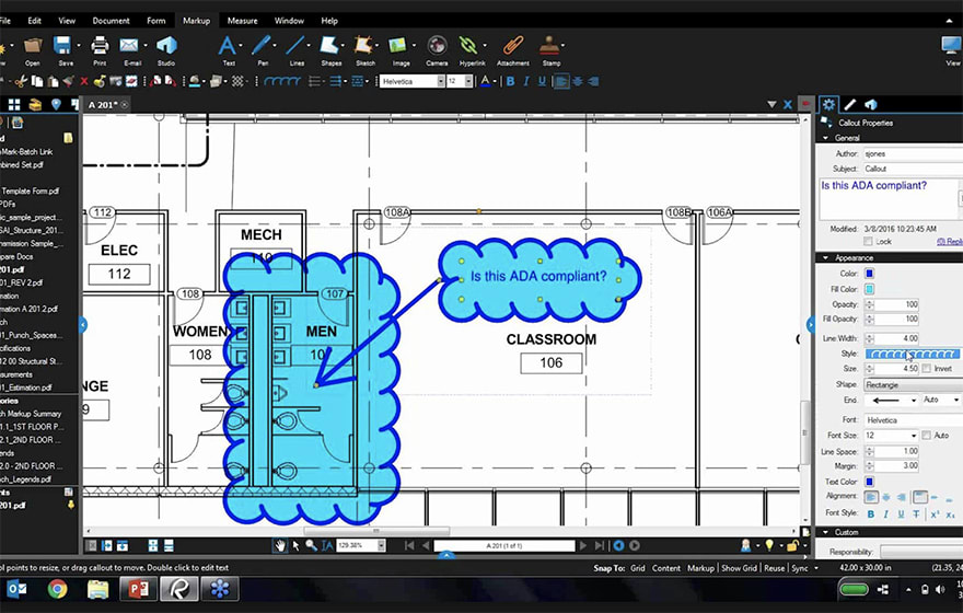 The development automatically links changes made to a 2D PDF in Bluebeam Revu to 3D models