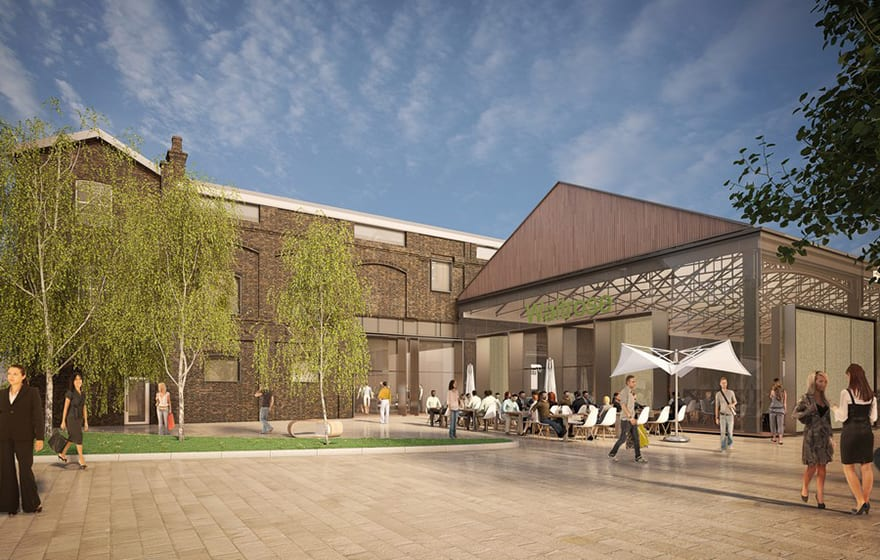 The building is being sympathetically restored and converted into a new Waitrose supermarket and cookery school, plus an events and cultural space