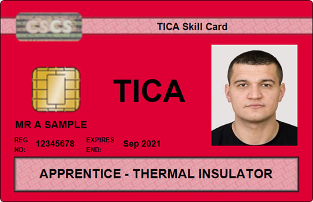 A typical Thermal Insulation Contractors Association skillcard with CSCS logo