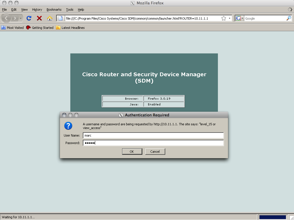 cisco router and security device manager