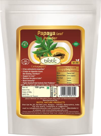 Papaya leaf powder - Herbal powder for dengue malaria fever and for boost immune system and for lower blood sugar level