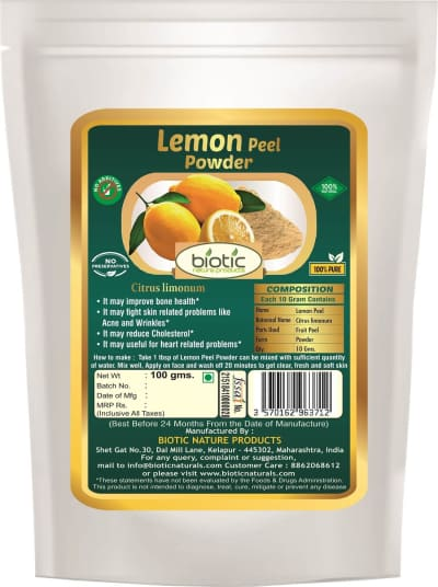 Lemon Peel Powder - Herbal powder for improves bone health and for boost immune system anti oxidants and for skin care and body care